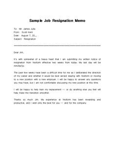 퇴사 서한 샘플(Sample Job Resignation Memo)