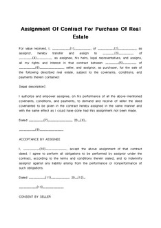 부동산 구매 계약서(Assignment Of Contract For Purchase Of Real Estate)