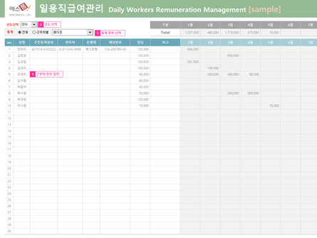 일용직 급여관리_Daily Workers Remuneration Management
