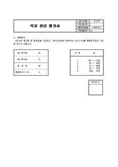 목표관리 평가서(업무성과평가표) 서식,예문,예제,샘플,작성방법 다운로드(Download)