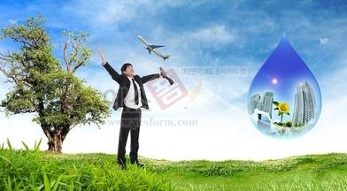만세,고목,나무,초록,비즈니스,비즈니스맨,남자,1명,물방울