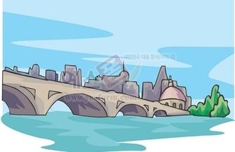 풍경,다리,강,건물,하늘,고적