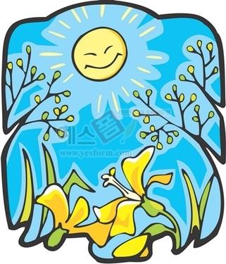 나뭇잎,나뭇가지,해,태양,꽃