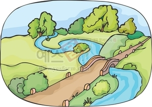 산,구름,강,냇물,다리,강물