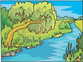 강,냇물,다리,강물,나무,하늘,구름