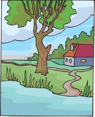나무,강,냇물,집,평온,녹원