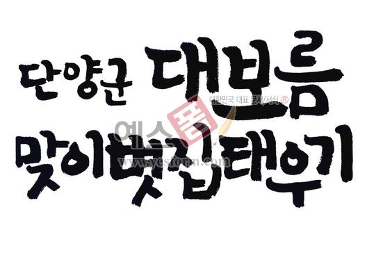 미리보기: 단양 군대보름 맞이 볏집태우기 - 손글씨 > 캘리그라피 > 행사/축제